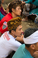 Bali, Indonesia.  Balinese Men Wearing the Udeng, the Traditional Balinese Head Cloth.