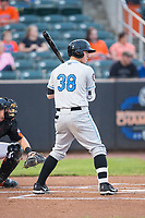 Brendan McKay (38) of the Hudson Valley Renegades at bat against the Aberdeen IronBirds at Leidos Field at Ripken Stadium on July 27, 2017 in Aberdeen, Maryland.  The IronBirds defeated the Renegades 3-0 in game two of a double-header.  (Brian Westerholt/Four Seam Images)