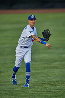 Josh Broughton (14) of the Ogden Raptors during the game against the Grand Junction Rockies at Lindquist Field on June 5, 2021 in Ogden, Utah. The Raptors defeated the Rockies 18-1. (Stephen Smith/Four Seam Images)