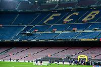 6th January 2021; Camp Nou, Barcelona, Spain. La Liga Womens league football FC Barcelona versus Rcd Espanyol; FC Barcelona team warm up before the Liga Iberdrola match