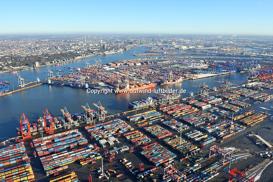 Containerhafen Hamburg: EUROPA, DEUTSCHLAND, HAMBURG, (EUROPE, GERMANY), 2.1.2009: Europa, Deutschland, Hamburg,  am Tag, am Tage, am Tage Tag tagsueber, Burchardkai CTB, Eurogate, Container Terminal Container-Terminal, Container, Globalisierung, Logistik, Transport, internationaler Handel, Welthandel, Container-Terminal Burchardkai, Containerbruecke, Containerbruecken, Containerfrachter, Containerhaefen, Containerhafen, Umschlaghafen, Containerlogistik, Containerriese, Containerriesen, Containerschiff, Containerschiffe, Containerterminal, Containerumschlag, Containerverkehr, Eurogate EG CTH, Haefen, Hafen, Hafenwirtschaft, HHLA, Luftaufnahme, Luftaufnahmen, Luftbild, Luftbilder, Luftfoto, Luftfotos, Luftphoto, Luftphotos, Schiff, Schiffe, Seehaefen, Seehafen, Universalhafen, Vogelperspektive, Vogelperspektiven, Waltershof, Waltershoferhafen Waltershofer Hafen, Wirtschaft, Wirtschaftszweig<br />c o p y r i g h t : A U F W I N D - L U F T B I L D E R . de<br />G e r t r u d - B a e u m e r - S t i e g 1 0 2, <br />2 1 0 3 5 H a m b u r g , G e r m a n y<br />P h o n e + 4 9 (0) 1 7 1 - 6 8 6 6 0 6 9 <br />E m a i l H w e i 1 @ a o l . c o m<br />w w w . a u f w i n d - l u f t b i l d e r . d e<br />K o n t o : P o s t b a n k H a m b u r g <br />B l z : 2 0 0 1 0 0 2 0 <br />K o n t o : 5 8 3 6 5 7 2 0 9<br />V e r o e f f e n t l i c h u n g  n u r  n a c h  H o n o r a r  a b s p r a c h e, N a m e n s n e n n u n g  u n d  B e l e g e x e m p l a r !