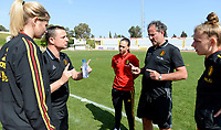 20180307 - LARNACA , CYPRUS :  Belgian head coach Ives Serneels (middle) pictured with Justine Vanhaevermaet , Jassina Blom , assistant coach Kris Van Der Haegen and Yana Daniels during a women's soccer game between  South Africa and the Belgian Red Flames  , on Wednesday 7 March 2018 at the GSZ Stadium in Larnaca , Cyprus . This is the final game in a decision for 5th or 6th place for Belgium during the Cyprus Womens Cup , a prestigious women soccer tournament as a preparation on the World Cup 2019 qualification duels. PHOTO SPORTPIX.BE | DAVID CATRY