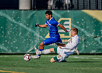 26 October 2019: University of Massachusetts Lowell River Hawk Forward Alejandro Osorio, a Senior from Hollywood, FL, in first half action against the University of Vermont Catamounts at Virtue Field in Burlington, Vermont. The Catamounts rallied to defeat the River Hawks 2-1, propelling the Cats to the America East Division 1 conference playoffs. Mandatory Credit: Ed Wolfstein Photo *** RAW (NEF) Image File Available ***