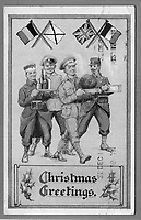 BNPS.co.uk (01202 558833)<br /> Pic: Pen&Sword/BNPS<br /> <br /> Pictured: This British Christmas card from 1914 stresses the partnership of the Allied nations.<br /> <br /> Previously unseen accounts of the First World War Christmas Day truce from the German side have come to light over 100 years on.<br /> <br /> British historian Anthony Richards has pored over hundreds of German diaries to shed new light on the temporary ceasefire in 1914.<br /> <br /> The fascinating accounts include one by a soldier who described the truce as a 'miracle' and called enemy troops his 'brothers'.