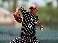 Miami Christian Victors pitcher Ashe Ammerlaan (19) during the 42nd Annual FACA All-Star Baseball Classic on June 5, 2021 at Joker Marchant Stadium in Lakeland, Florida.  (Mike Janes/Four Seam Images)