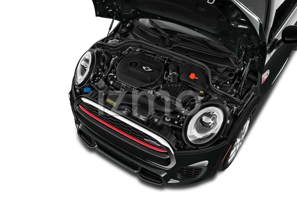 Car Stock2015 MINI Mini John Cooper Works 3 Door Hatchback Engine high angle detail view