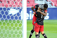 WASHINGTON, DC - NOVEMBER 8: Donovan Pines #23 of D.C. United celebrates his score with teammate Yamil Asad #11 of D.C. United during a game between Montreal Impact and D.C. United at Audi Field on November 8, 2020 in Washington, DC.
