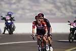 Race leader Red Jersey Tadej Pogacar (SLO) UAE Team Emirates and Adam Yates (GBR) Ineos Grenadiers lead the race up the final climb of Stage 3 of the 2021 UAE Tour running 166km from Al Ain to Jebel Hafeet, Abu Dhabi, UAE. 23rd February 2021.  <br /> Picture: Eoin Clarke | Cyclefile<br /> <br /> All photos usage must carry mandatory copyright credit (© Cyclefile | Eoin Clarke)