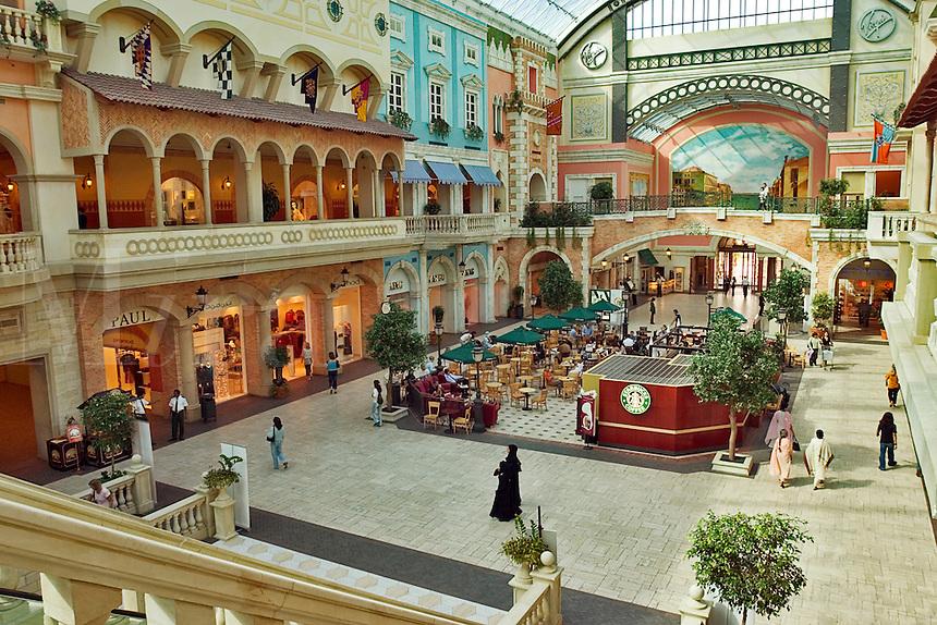 Dubai. United Arab Emirates. Mercato Shopping Mall, interior. Café and shops. Italian style..