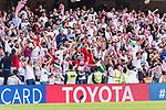 Soccer fans of the Jordan team celebrate the team's winning after the AFC Asian Cup UAE 2019 Group B match between Australia (AUS) and Jordan (JOR) at Hazza Bin Zayed Stadium on 06 January 2019 in Al Ain, United Arab Emirates. Photo by Marcio Rodrigo Machado / Power Sport Images