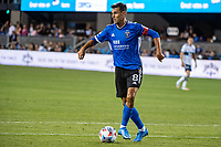 SAN JOSE, CA - AUGUST 13: Chris Wondolowski #8 of the San Jose Earthquakes  dribbles the ball during a game between San Jose Earthquakes and Vancouver Whitecaps at PayPal Park on August 13, 2021 in San Jose, California.
