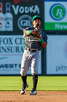 Clinton LumberKings second baseman Joseph Rosa (22) makes a throw to first base during a Midwest League game against the Wisconsin Timber Rattlers on June 29, 2018 at Fox Cities Stadium in Appleton, Wisconsin. Clinton defeated Wisconsin 9-7. (Brad Krause/Four Seam Images)