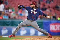 Lehigh Valley IronPigs starting pitcher James Russell (18) delivers a pitch during a game against the Buffalo Bisons on July 9, 2016 at Coca-Cola Field in Buffalo, New York.  Lehigh Valley defeated Buffalo 9-1 in a rain shortened game.  (Mike Janes/Four Seam Images)