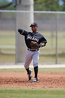 Miami Marlins third baseman Ty Washington (23) throws to first base during a minor league Spring Training game against the New York Mets on March 26, 2017 at the Roger Dean Stadium Complex in Jupiter, Florida.  (Mike Janes/Four Seam Images)