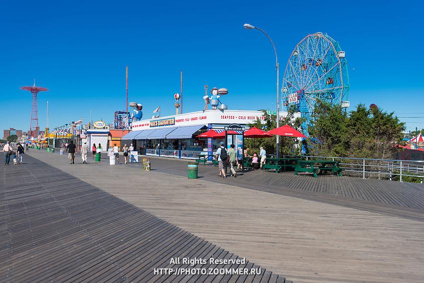 Snakc-bar on Coney Island boardwalk near luna park, Brooklyn