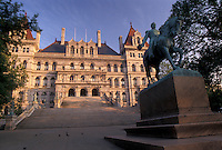 AJ4363, Albany, State Capitol, State House, New York, Equestrian statue outside The State Capitol Building in the capital city of Albany in the state of New York.