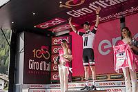 Maglia Rosa / overall leader Tom Dumoulin (NED/Sunweb)<br /> <br /> Stage 17: Tirano › Canaze (219km)<br /> 100th Giro d'Italia 2017