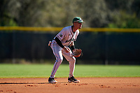 Dartmouth Big Green shortstop Bryce Daniel (4) during a game against the Omaha Mavericks on February 23, 2020 at North Charlotte Regional Park in Port Charlotte, Florida.  Dartmouth defeated Omaha 8-1.  (Mike Janes/Four Seam Images)