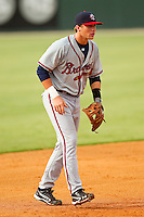 Rome Braves third baseman Brandon Drury #2 on defense against the Kannapolis Intimidators at CMC-Northeast Stadium on August 5, 2012 in Kannapolis, North Carolina.  The Intimidators defeated the Braves 9-1.  (Brian Westerholt/Four Seam Images)