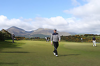 Thursday 28 May 2015; Michael Hoey walking off the 13th green<br /> <br /> Dubai Duty Free Irish Open Golf Championship 2015, Round 1 County Down Golf Club, Co. Down. Picture credit: John Dickson / SPORTSFILE