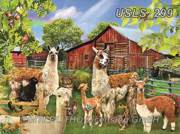 Lori, LANDSCAPES, LANDSCHAFTEN, PAISAJES, paintings+++++Six Llamas_4_27X20_Cmyk_12in_72,USLS299,#l#, EVERYDAY ,puzzle,puzzles