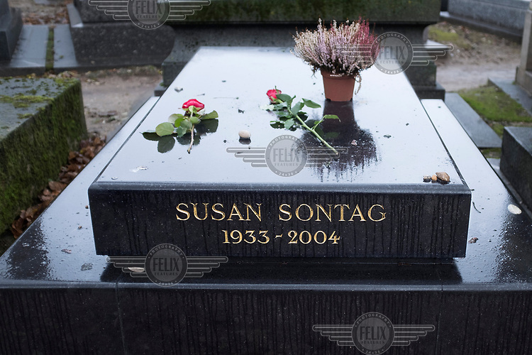 The grave of Susan Sontag in the Montparnasse Cemetery.