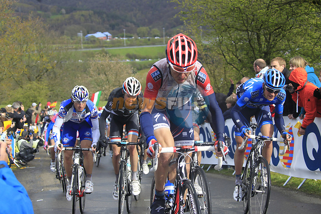 The peloton climbs the Cote de la Redoute during the 98th edition of Liege-Bastogne-Liege, running 257.5km from Liege to Ans, Belgium. 22nd April 2012.  <br /> (Photo by Eoin Clarke/NEWSFILE).