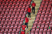 Salford players walk down through the stand before starting their warm-up during Leyton Orient vs Salford City, Sky Bet EFL League 2 Football at The Breyer Group Stadium on 2nd January 2021
