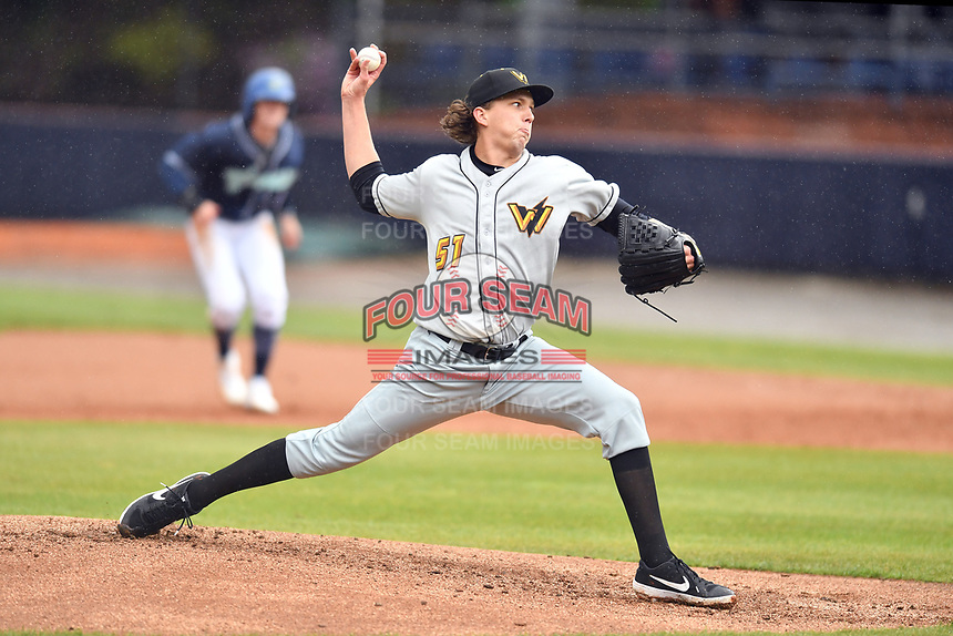 West Virginia Power starting pitcher Logan Gilbert (51) delivers a pitch during game two of a double header against the Asheville Tourists at McCormick Field on April 20, 2019 in Asheville, North Carolina. The Power were leading the Tourists 6-0 when the game was suspended in the middle of the fourth inning. (Tony Farlow/Four Seam Images)