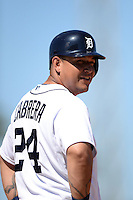 Detroit Tigers first baseman Miguel Cabrera (24) during a spring training game against the St. Louis Cardinals on March 3, 2014 at Joker Marchant Stadium in Lakeland, Florida.  Detroit defeated St. Louis 8-5.  (Mike Janes/Four Seam Images)