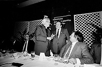 Jean Garon, Agriculture Minister, Quebec,  attend ALIMENT-AIDE Fundraiser of Cardinal Leger, November 14, 1985 at the Hilton-Bonaventure Hotel.<br /> <br /> Garon just died in July 2014.<br /> <br /> File Photo : Agence Quebec Presse - Pierre Roussel