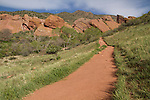 Hiking trail in Red Rocks State Park, Golden, Colorado,