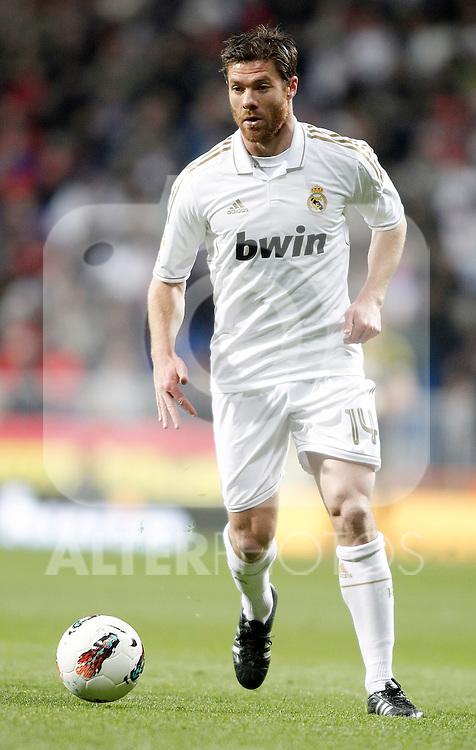 Real Madrid's Xabi Alonso during La Liga match. February 12, 2012. (ALTERPHOTOS/Alvaro Hernandez)