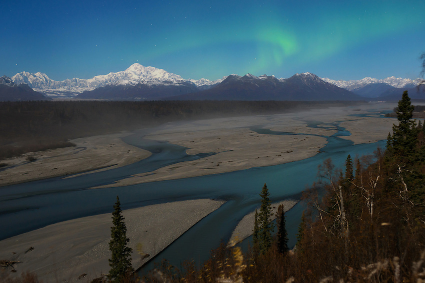 Aurora Borealis over Denali and the Chulitna River.