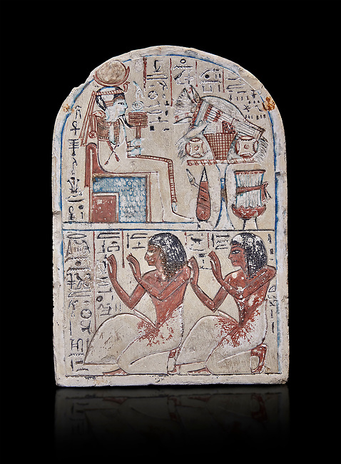 """Ancient Egyptian Ra stele , limestone, New Kingdom, 19th Dynasty, (1279-1190 BC), Deir el-Medina,  Egyptian Museum, Turin. black background.<br /> <br /> Khonsu sits on a cube-like throne and wears the solar disc and half-moon on his head. He faces an offering table piled with food and flowers. The hieroglyphic inscription reads: """"Khonsu-in-Thebes, Neferhotep. Protection, life, stability and power surround him, like Ra. Libation for your ka with bread, beer, oxen and fowl.""""Lower register depicts two men kneeling in adoration. They face to the left: Nebre, whose title is kedw sesh """"draughtsman"""" and his son, Amenemope.""""Give praise to Khonsu-in-Thebes by the scribe of Amun in the Place of Truth Nebra, justified in peace, he loved his son, Amenemope, justified"""".In the bottom register are the """"Draughtsman-scribe of Amun in the Place of Truth"""", Nebre, and his son, Amenemope""""<br /> <br /> Akh iqer en Ra """" the excellent spirit of Ra' stele.One of three stele forund in different rooms of houses in Deir el-Medina where they stood in niches"""
