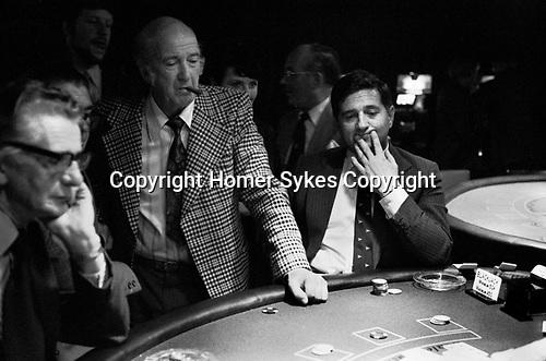 Casino interior Isle of Man 1970s, people playing Blackjack gambling 1978 UK.