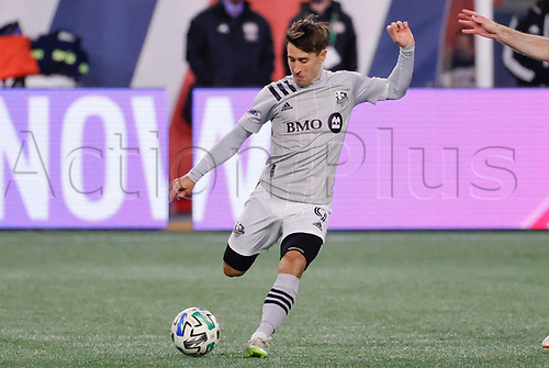 20th November 2020; Foxborough, MA, USA;  Montreal Impact midfielder Bojan switches play during the MLS Cup Play-In game between the New England Revolution and the Montreal Impact
