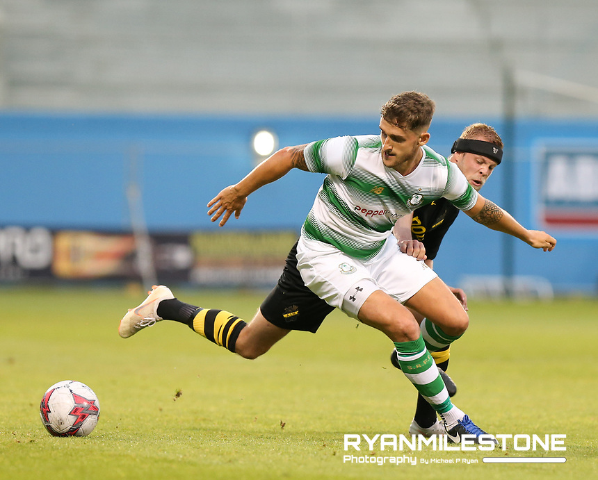 Lee Grace of Shamrock Rovers in action against Daniel Sundgrens of AIK during the UEFA Europa League First Qualifying Round First Leg between Shamrock Rovers and AIK on Thursday 12th July 2018 at Tallaght Stadium, Dublin. Photo By Michael P Ryan