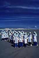 Like sea gulls on the Beach, Muslim school children on a beach in Brunei during a school outing