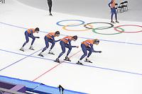 OLYMPIC GAMES: PYEONGCHANG: 17-02-2018, Gangneung Oval, Long Track, Training session, Patrick Roest (NED), Jan Blokhuijsen (NED), Sven Kramer (NED), Koen Verweij (NED), ©photo Martin de Jong