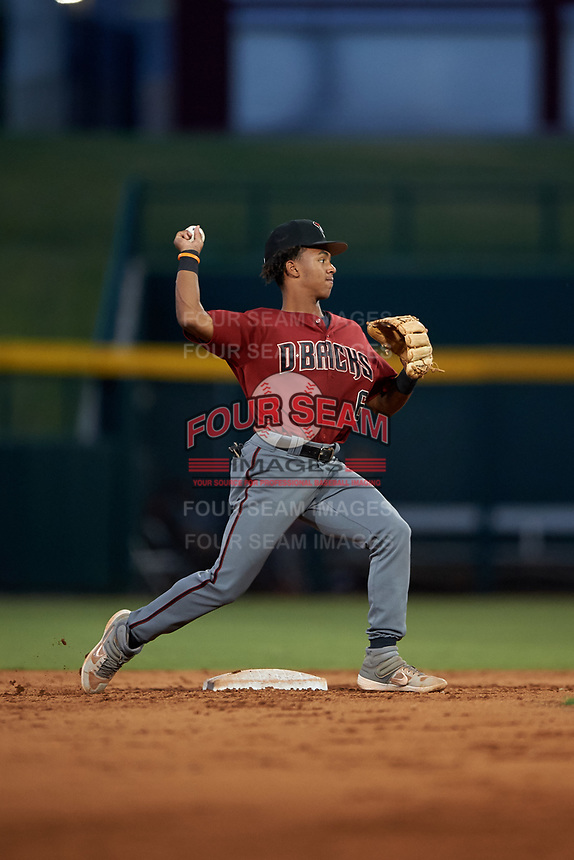 AZL Dbacks second baseman Glenallen Hill Jr. (6) throws to first base during an Arizona League game against the AZL Cubs 2 on June 25, 2019 at Sloan Park in Mesa, Arizona. AZL Cubs 2 defeated the AZL Dbacks 4-0. (Zachary Lucy/Four Seam Images)
