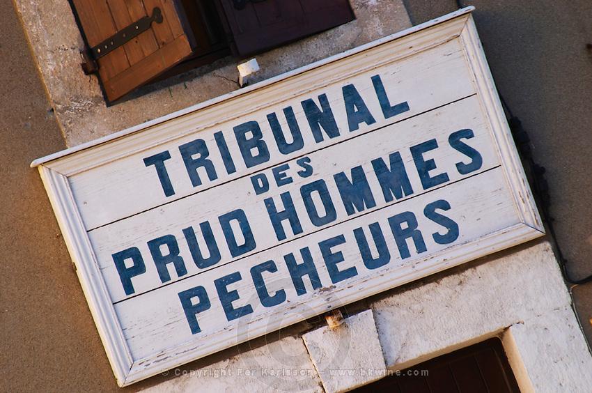 Gruissan village. La Clape. Languedoc. Tribunal des Prud'hommes Pecheurs - the court of prudhommes, work law, for fishermen. France. Europe.