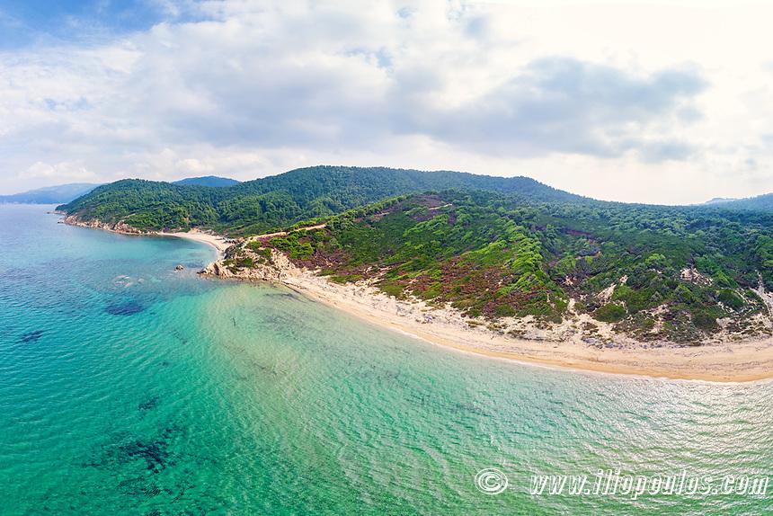 The beaches Elias and Agistros of Skiathos island from drone view, Greece