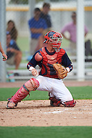 GCL Red Sox catcher Samuel Miranda (55) during the first game of a doubleheader against the GCL Rays on August 9, 2016 at JetBlue Park in Fort Myers, Florida.  GCL Rays defeated GCL Red Sox 5-4.  (Mike Janes/Four Seam Images)