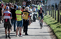 eventual race winner Dylan van Baarle (NED/INEOS Grenadiers) up the Trieu/Knokteberg one final time during his 50km solo to the finish<br /> <br /> 76th Dwars door Vlaanderen 2021 (MEN1.UWT)<br /> 1 day race from Roeselare to Waregem (184km)<br /> <br /> ©kramon