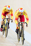 The team of Spain with Alejandro Martinez Chorro, Jose Moreno Sanchez and Juan Peralta Gascson compete in Men's Team Sprint - Qualifying match as part of the 2017 UCI Track Cycling World Championships on 12 April 2017, in Hong Kong Velodrome, Hong Kong, China. Photo by Victor Fraile / Power Sport Images