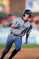 West Michigan Whitecaps second baseman Kody Clemens (21) runs the bases during a game against the Kane County Cougars on July 19, 2018 at Northwestern Medicine Field in Geneva, Illinois.  Kane County defeated West Michigan 8-5.  (Mike Janes/Four Seam Images)