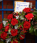 02.01.2020 Ibrox disaster memorial service: Wreath from Rangers FC placed by John Greig at the base of the disaster memorial statue at Edmiston Drive
