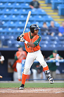 Greensboro Grasshoppers third baseman James Nelson (20) awaits a pitch during a game against the Asheville Tourists at McCormick Field on April 27, 2017 in Asheville, North Carolina. The Tourists defeated the Grasshoppers 8-5. (Tony Farlow/Four Seam Images)