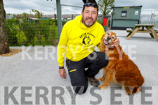 Maurice Enright of Sera Husky and Animal Rescue, at his Rescue Centre on Tuesday with Jessie as he launches his Sunday's online 'Family Funday'